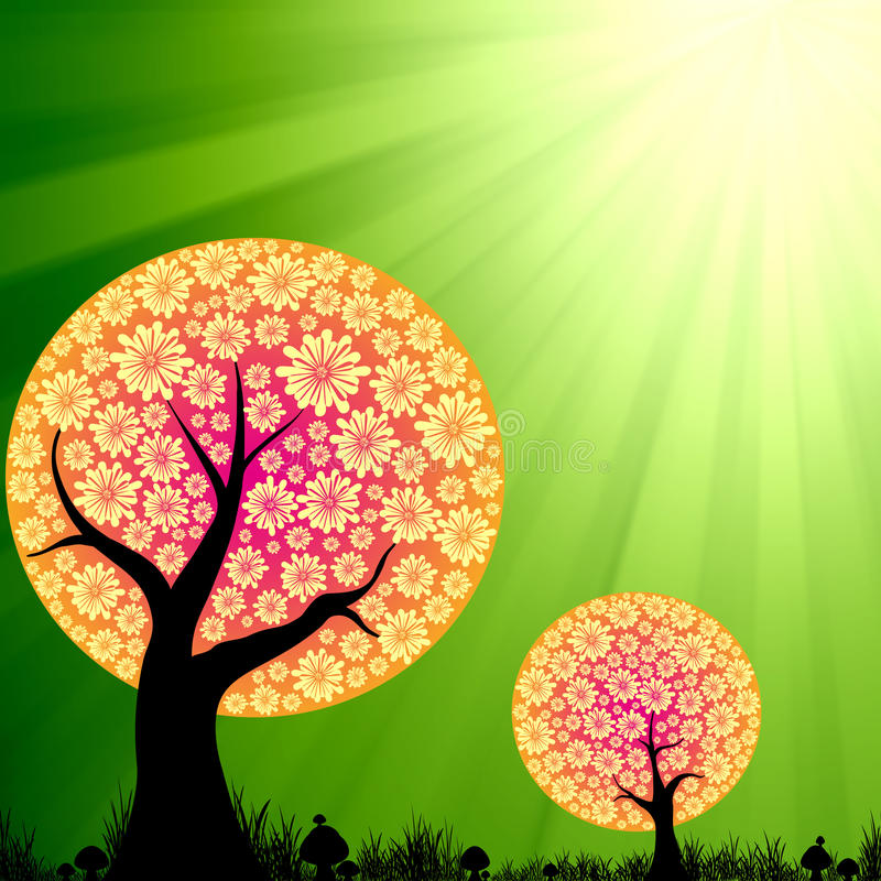 Abstrakte Blumenbäume auf Grünimpulsleuchte vektor abbildung