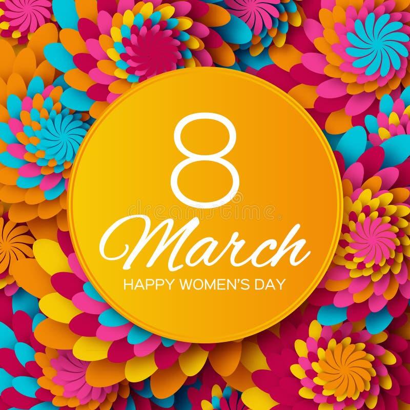 Abstrakte Blumengrußkarte - der Tag der internationalen glücklichen Frauen - 8. März Feiertagshintergrund mit Papier schnitt Feld vektor abbildung