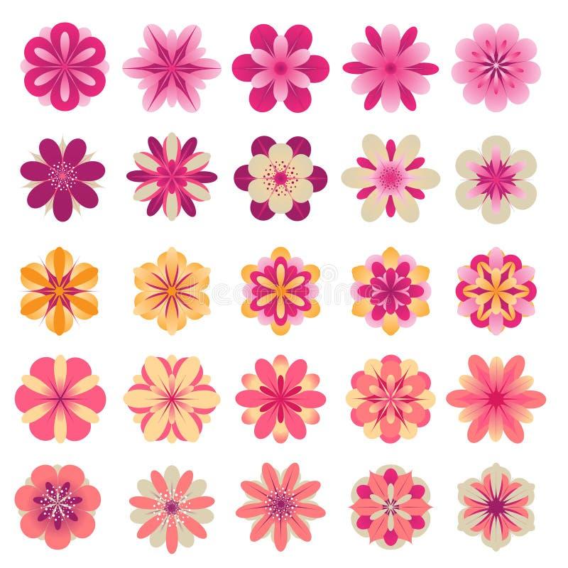 Abstrakte Blumenikonen stock abbildung