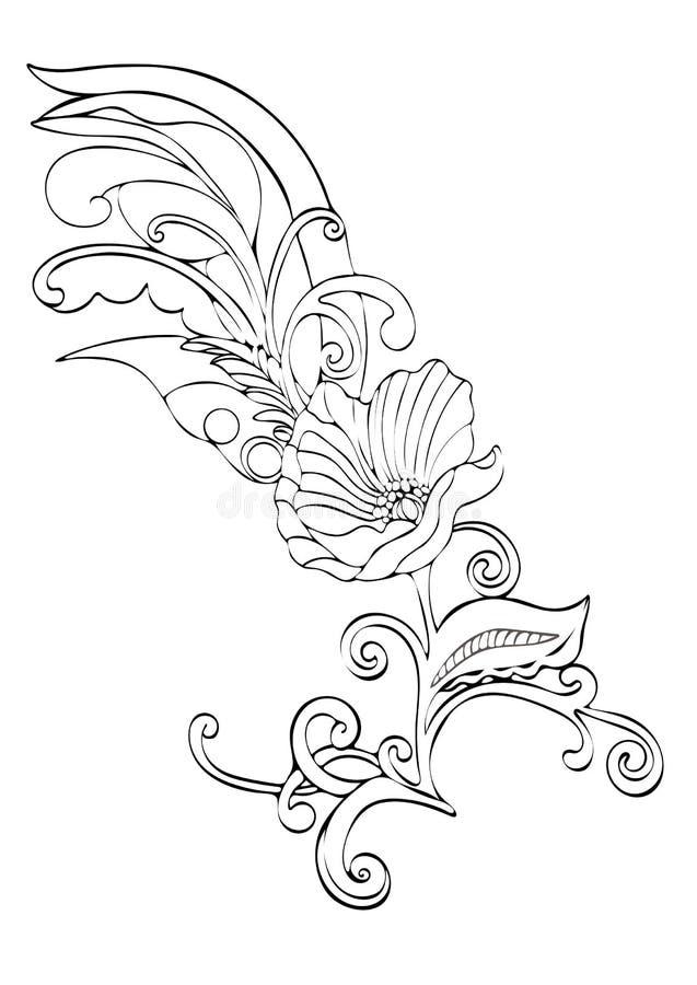 Abstrakte Blumenkarikatur, vector von Hand gezeichnete die Schwarzweiss-Kontur, einfarbige Illustration des Entwurfs, Malbuch lizenzfreie abbildung