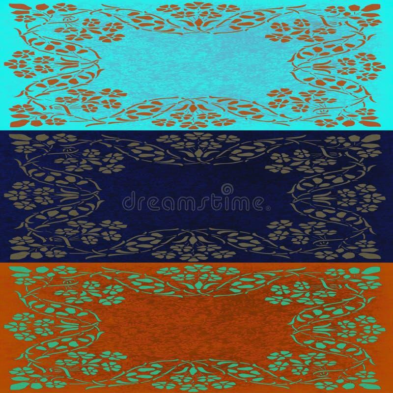 Abstrakte Blumenmotivcollage in den blauen und rustikalen braunen Farben lizenzfreies stockbild