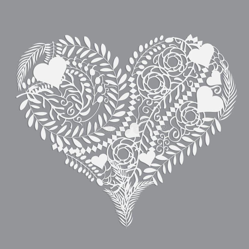 Abstrakte Blumenmusterherz-Vektorillustration vektor abbildung
