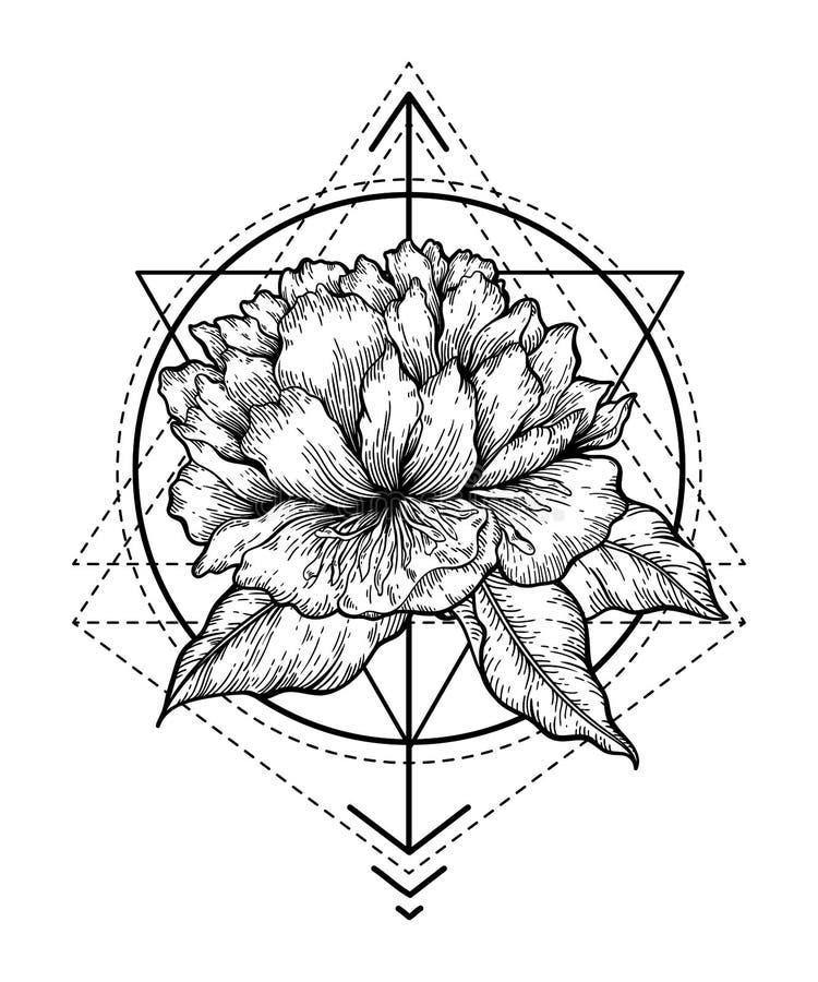Abstrakte Blumentätowierung lizenzfreie abbildung