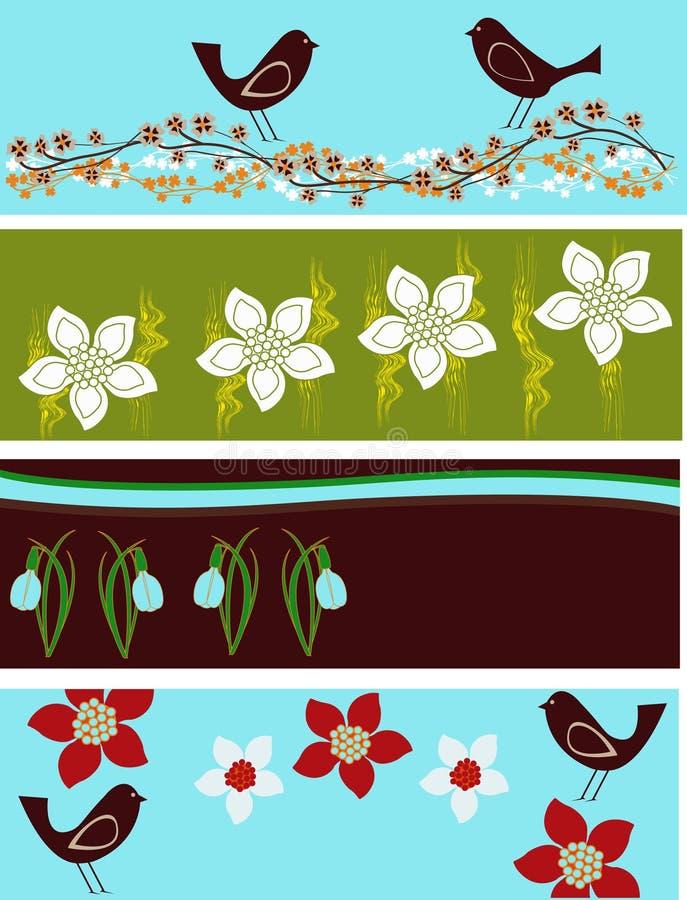 Abstrakte Blumenweb-Fahnen lizenzfreie abbildung