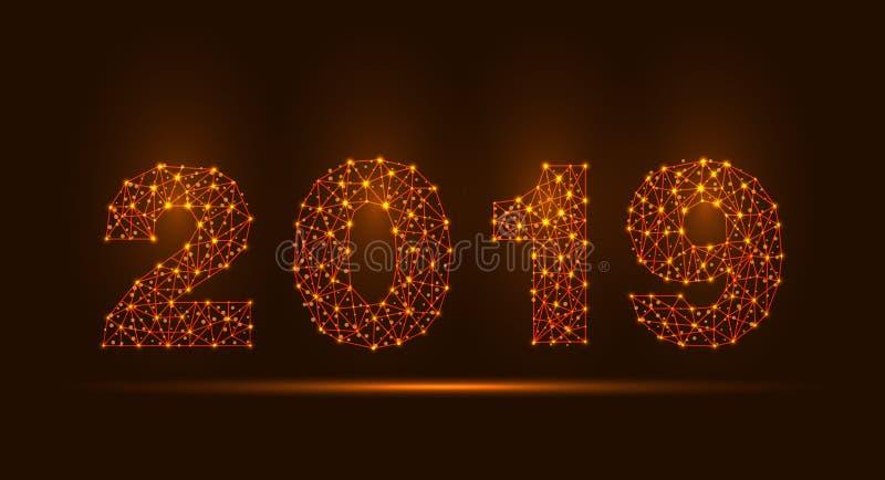 Abstrakte Brei-Linie und Punkt-Skalen auf dunklem Hintergrund mit 2019 guten Rutsch ins Neue Jahr vektor abbildung