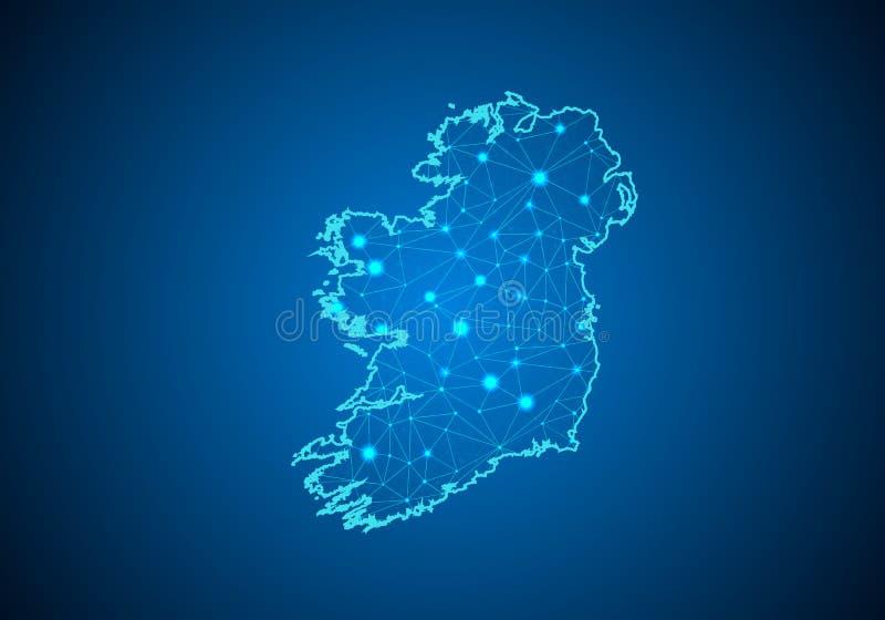 Abstrakte Breilinie und -Punkt-Skalen auf dunklem Hintergrund mit Karte von Irland stock abbildung