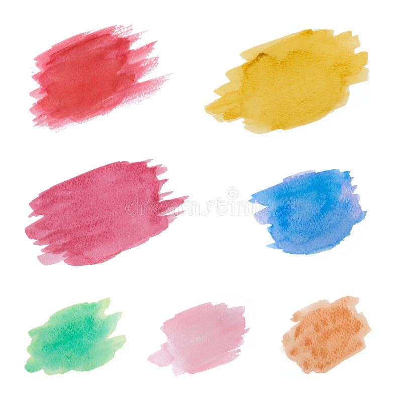 Abstrakte bunte Aquarellhandfarbenflecke auf weißem Hintergrund stock abbildung