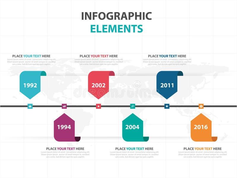 Abstrakte bunte Aufklebergeschäftszeitachse Infographics-Elemente, Design-Vektorillustration der Darstellungsschablone flache für vektor abbildung