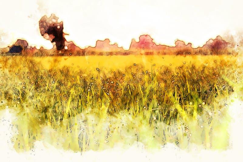 Abstrakte bunte Baum- und Flussseelandschaftsaquarell-Illustrationsmalerei lizenzfreie abbildung