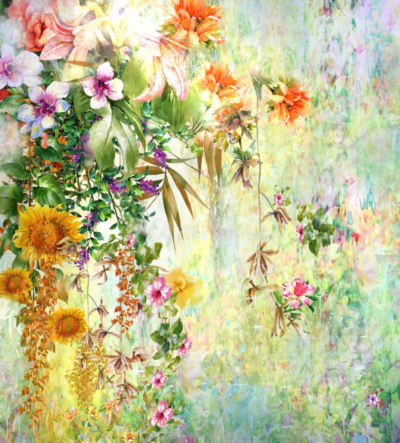Abstrakte bunte Blumenaquarellmalerei Frühling mehrfarbig in der Natur stock abbildung