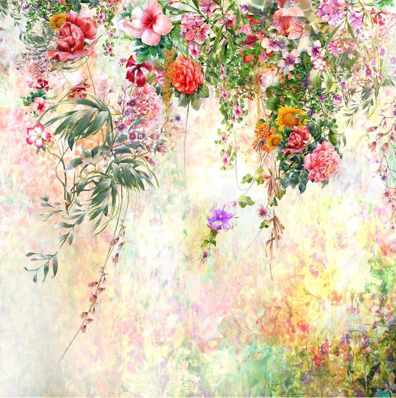 Abstrakte bunte Blumenaquarellmalerei Frühling mehrfarbig in der Natur stockbilder