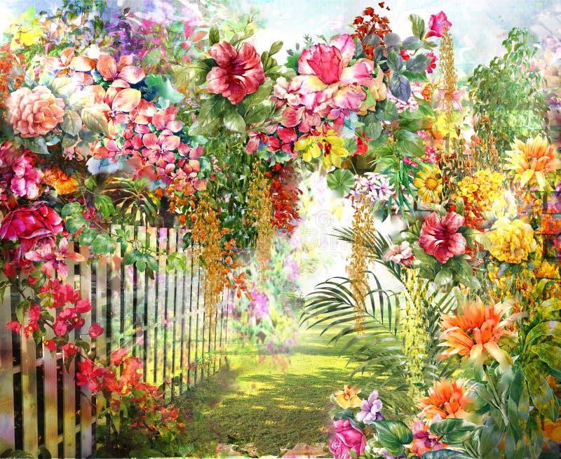 Abstrakte bunte Blumenaquarellmalerei Frühling mehrfarbig in der Natur stockfotos