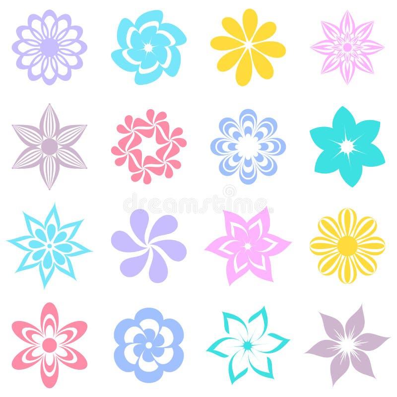 Abstrakte bunte Blumenikonen vektor abbildung