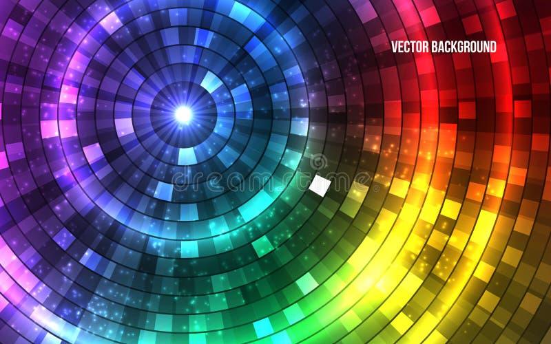 Abstrakte bunte Disco-Lichter Tunnel Vektor lizenzfreie abbildung