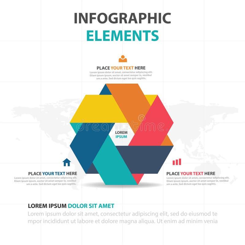 Abstrakte bunte Dreieckaufklebergeschäftszeitachse Infographics-Elemente, Design-Vektorillustration der Darstellungsschablone fla lizenzfreie abbildung