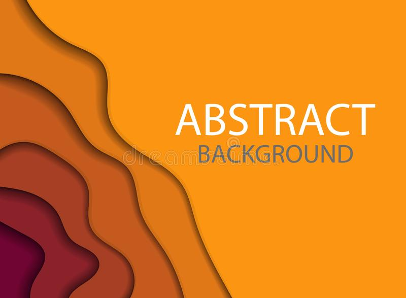 abstrakte bunte Fliegerschablone Moderne Fahne mit abstrakten Schnittwellenformen des Hintergrundes 3D und des Papiers Modischer  stock abbildung