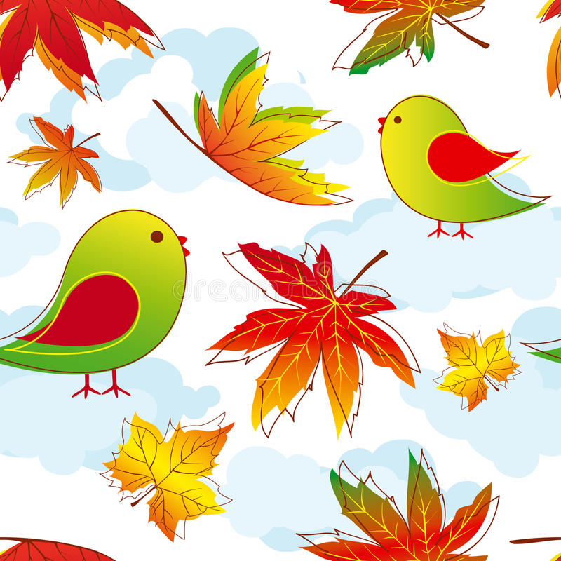Abstrakte bunte Herbstblätter mit Vögeln stock abbildung