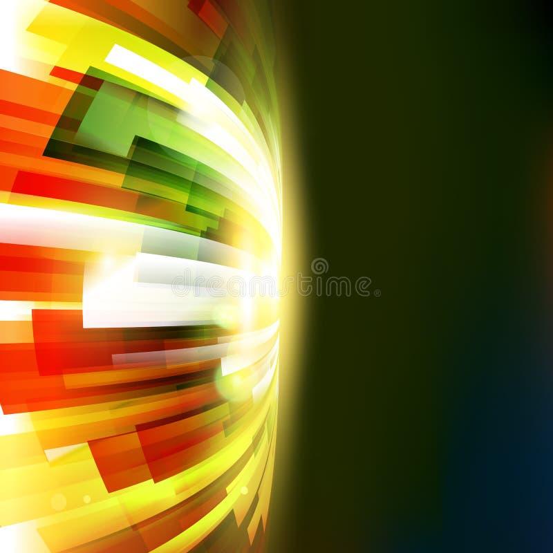 Abstrakte bunte Hitzewelle am dunklen Hintergrund stock abbildung
