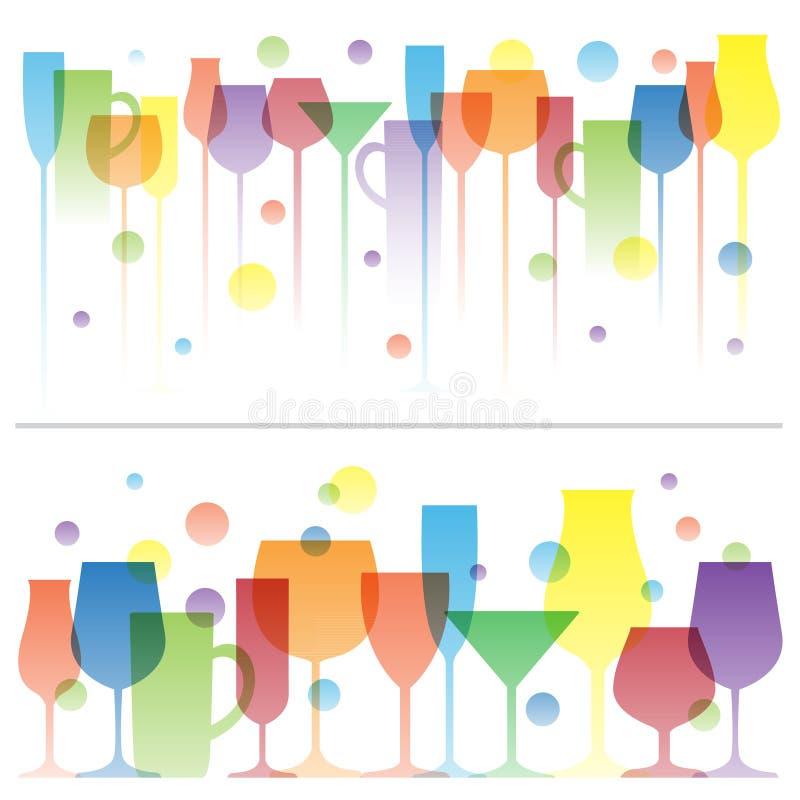 Abstrakte bunte Illustration von Weingetränkgläsern Vektorlogoschablone Konzept für Barkarte, Alkohol lizenzfreie abbildung