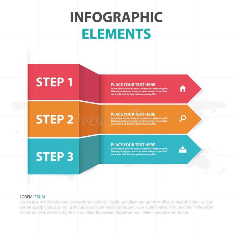 Abstrakte bunte Pfeilaufklebergeschäft Infographics-Elemente, Design-Vektorillustration der Darstellungsschablone flache für Webd stock abbildung