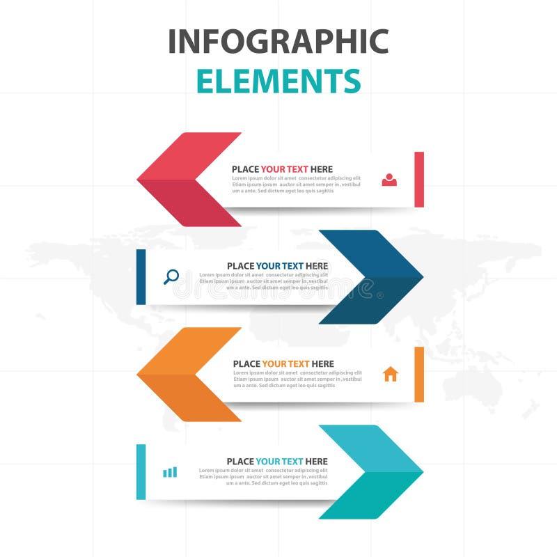 Abstrakte bunte Pfeilgeschäft Infographics-Elemente, Design-Vektorillustration der Darstellungsschablone flache für Webdesign lizenzfreie abbildung