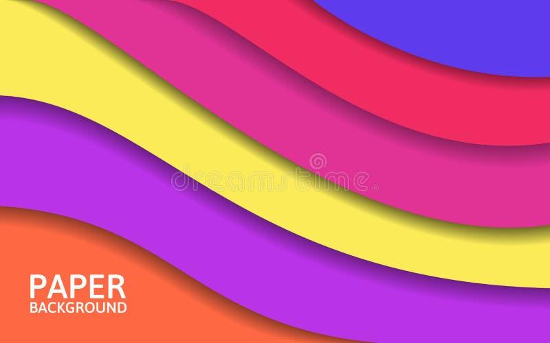Abstrakte bunte Schichten Papierschnittformen Helles Design für Website oder Plakat Moderner Hintergrund Auch im corel abgehobene lizenzfreie abbildung