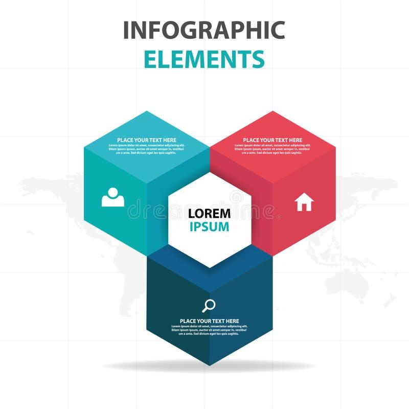 Abstrakte bunte Textboxgeschäft Infographics-Elemente, Design-Vektorillustration der Darstellungsschablone flache für Webdesign vektor abbildung