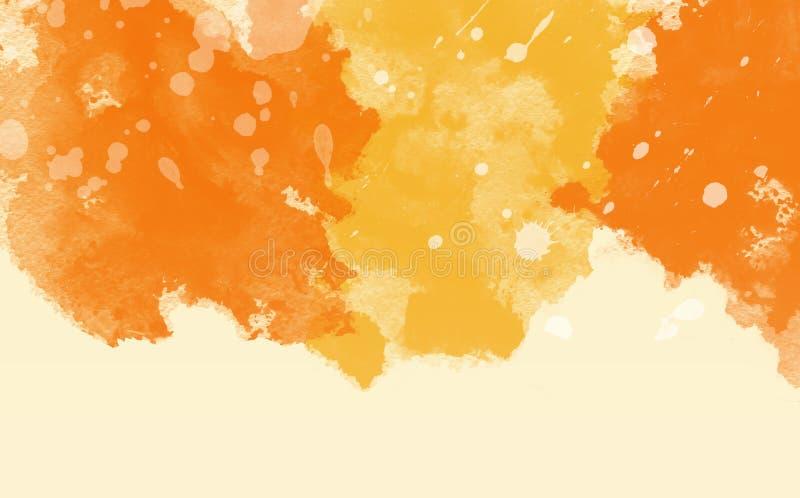 Abstrakte bunte Wasserfarbe, orange Hintergrund lizenzfreie stockfotografie