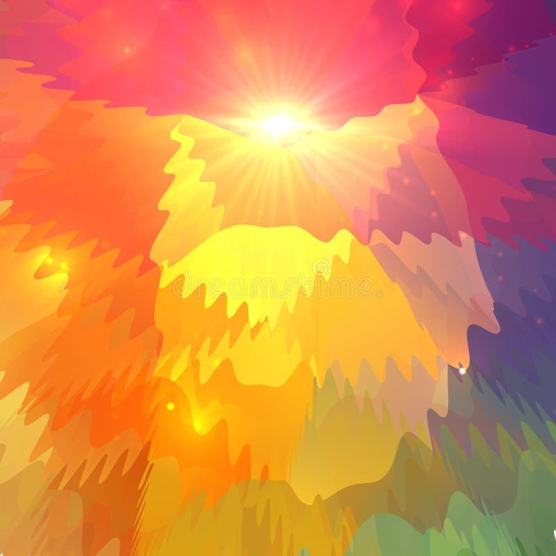 Abstrakte bunte Wellen auf polygonaler Oberfläche lizenzfreie abbildung