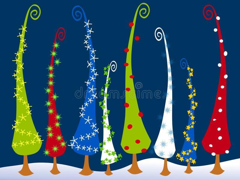 Abstrakte Cartoonish Weihnachtsbäume 3 lizenzfreie abbildung