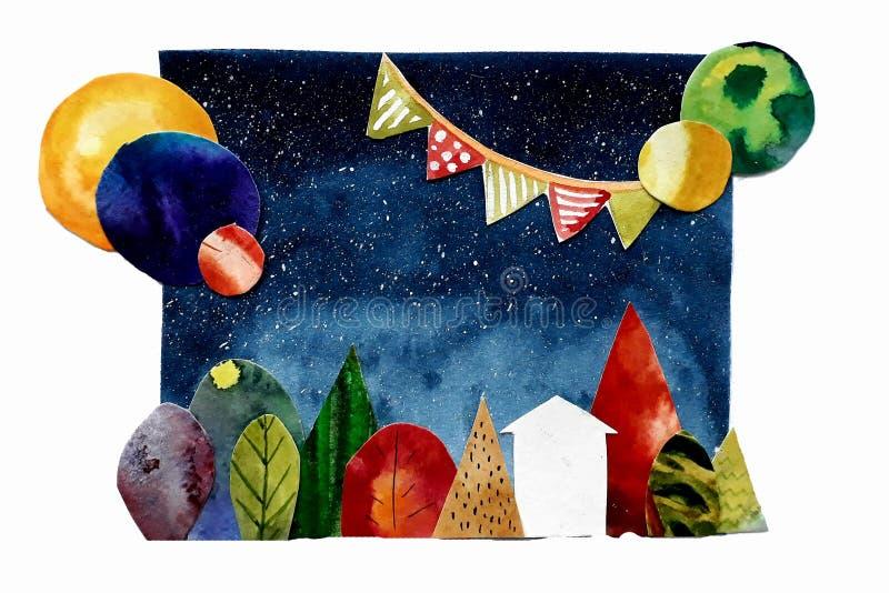Abstrakte Collage mit Baumhaus und -planeten lizenzfreie abbildung
