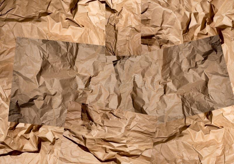 Abstrakte Collage von Bildern mit zerknittertem Papier lizenzfreies stockbild