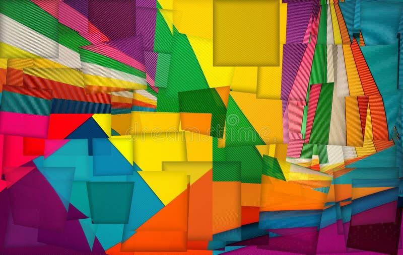Abstrakte Collage von Hintergr?nden der gew?lbten farbigen Pappe vektor abbildung