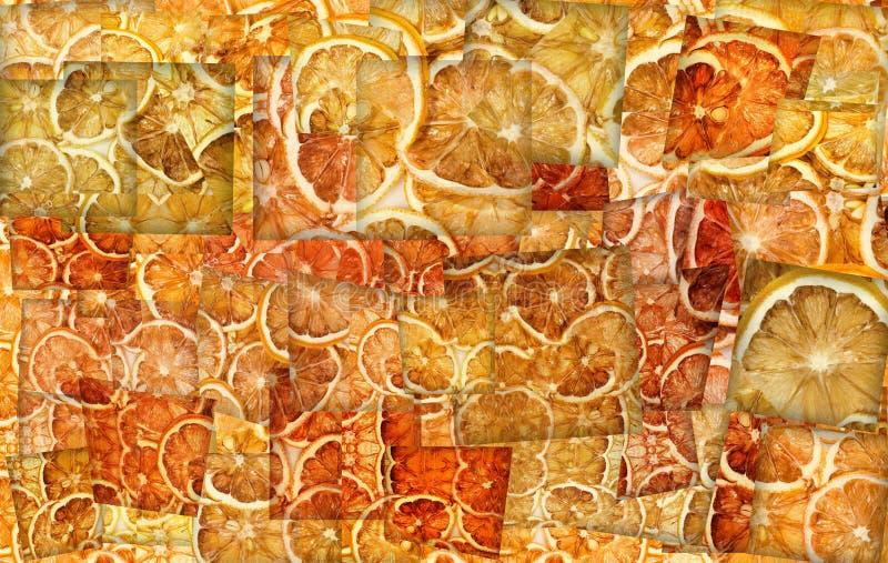Abstrakte Collage von vielen gelben Zitronenscheiben stock abbildung