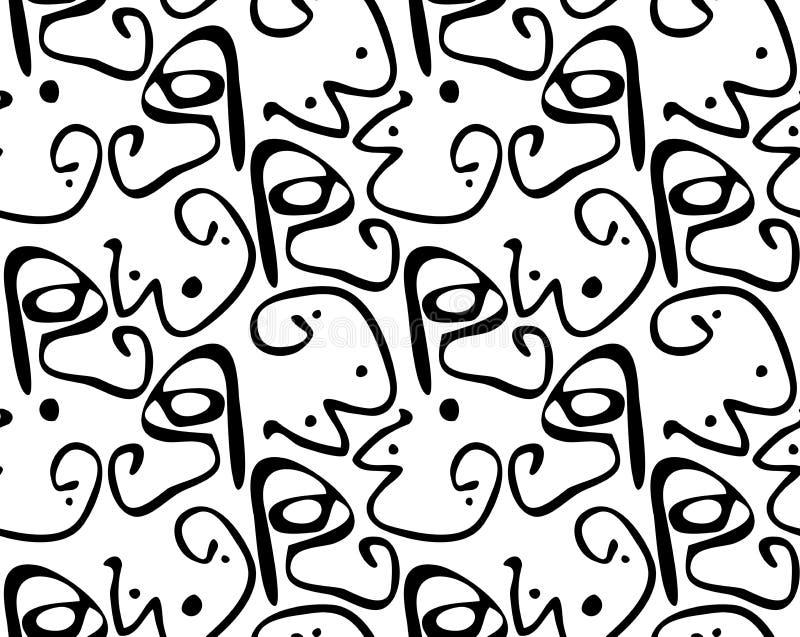 Abstrakte curvy Formen mit Punkten schwärzen auf Weiß stock abbildung