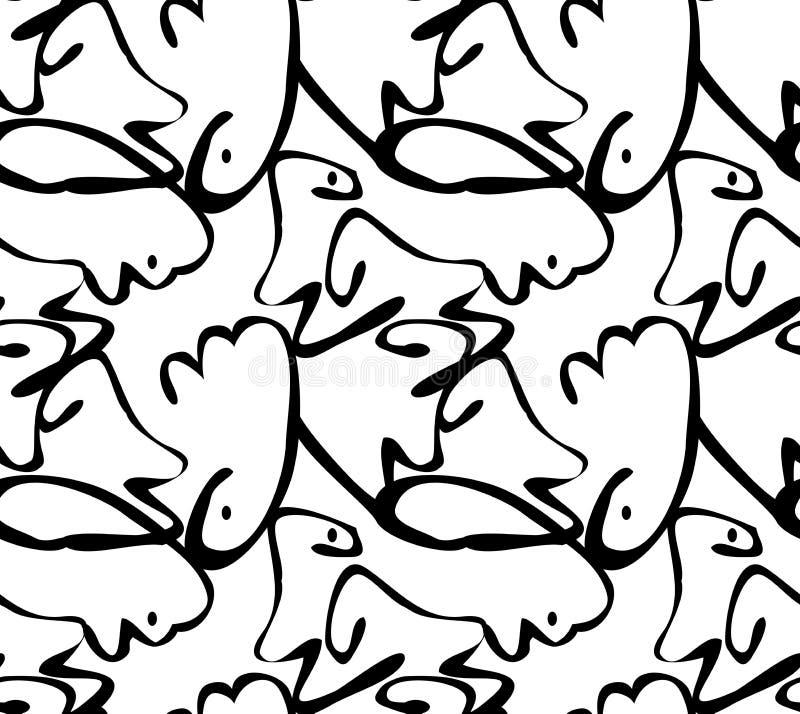 Abstrakte curvy Formen schwärzen auf Weiß mit Punkten lizenzfreie abbildung