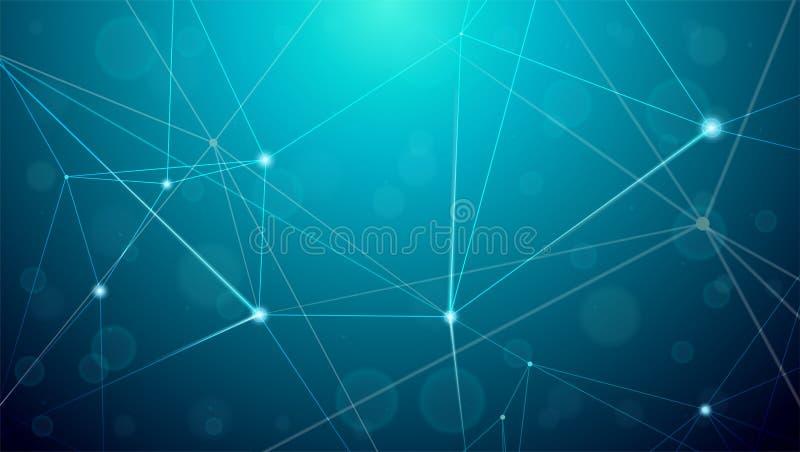 Abstrakte Cyberplexusformen Digital-Hintergrund, Vektorillustration Konzept von Nachrichtenverbindungen Geometrisches Gitter stock abbildung