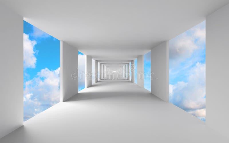 Abstrakte 3d Architektur, leerer weißer Korridor stock abbildung