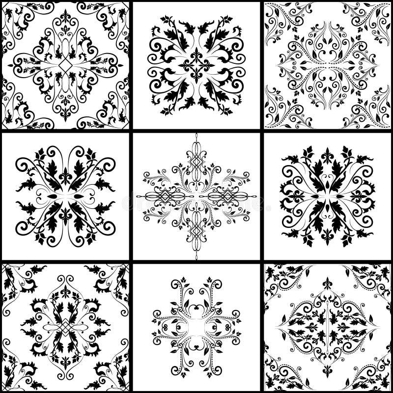 Abstrakte Damastmuster stellten von neun nahtlos im Retrostil für Designgebrauch ein vektor abbildung