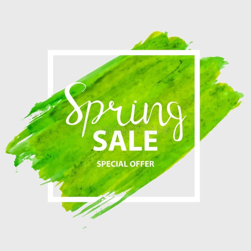 Abstrakte Design-Frühlings-Verkaufs-Fahnen-Schablone Auch im corel abgehobenen Betrag vektor abbildung