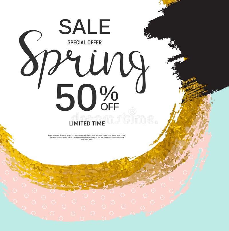 Abstrakte Design-Frühlings-Verkaufs-Fahnen-Schablone Auch im corel abgehobenen Betrag lizenzfreie abbildung