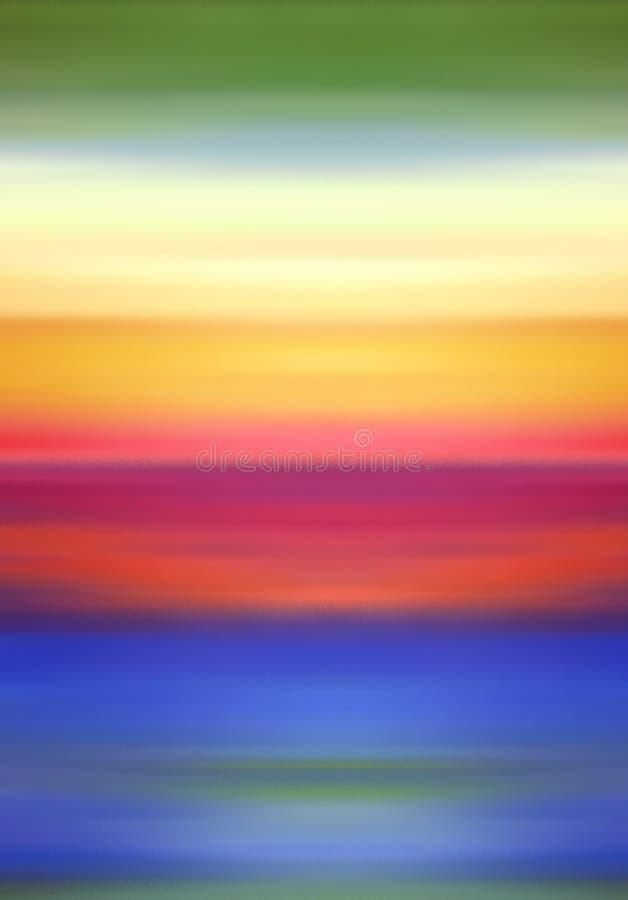 Abstrakte Digital-Landschaftsillustration mit Himmel, Strand und Ozean in den Regenbogen-Farben vektor abbildung