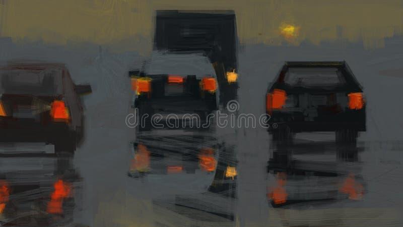 Abstrakte digitale Malerei einer Landstraße mit Autos in der Sonnenuntergangillustration vektor abbildung