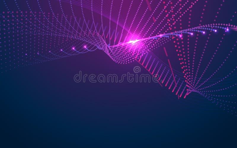 Abstrakte digitale Welle von Partikeln mit Wissenschaft und futuristischem Technologiehintergrund stock abbildung