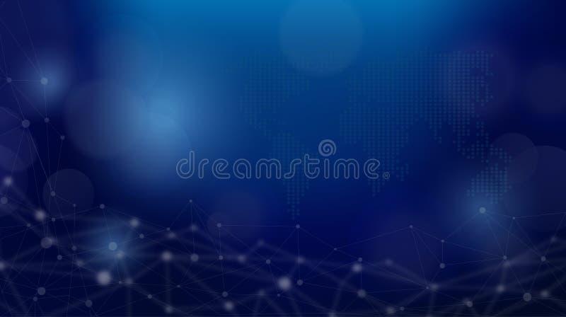 Abstrakte Digitaltechnikhintergrundweltkarte für Darstellung lizenzfreie abbildung