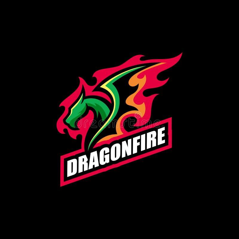 Abstrakte Dragon Fire-Illustrationsvektor Entwurfsschablone vektor abbildung