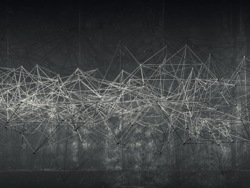 Abstrakte Drahtrahmen-Maschenstruktur, Dunkle Wand Stock Abbildung ...