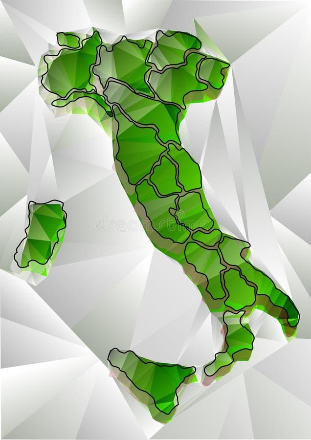 Abstrakte dreieckige Karte von Italien lizenzfreie abbildung