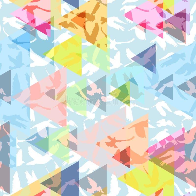 Abstrakte Dreiecktauben und -tauben silhouettieren dekorative geometrische zeitgenössische rosa gelbe Blaupause des nahtlosen Mus stock abbildung