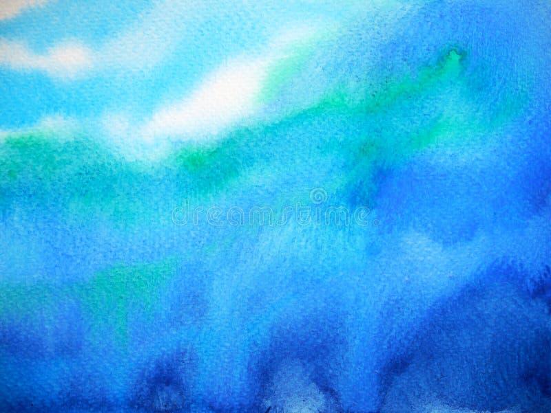 Abstrakte dunkelblaue Himmelwasserseemeereswoge-Aquarellmalerei stockfotos